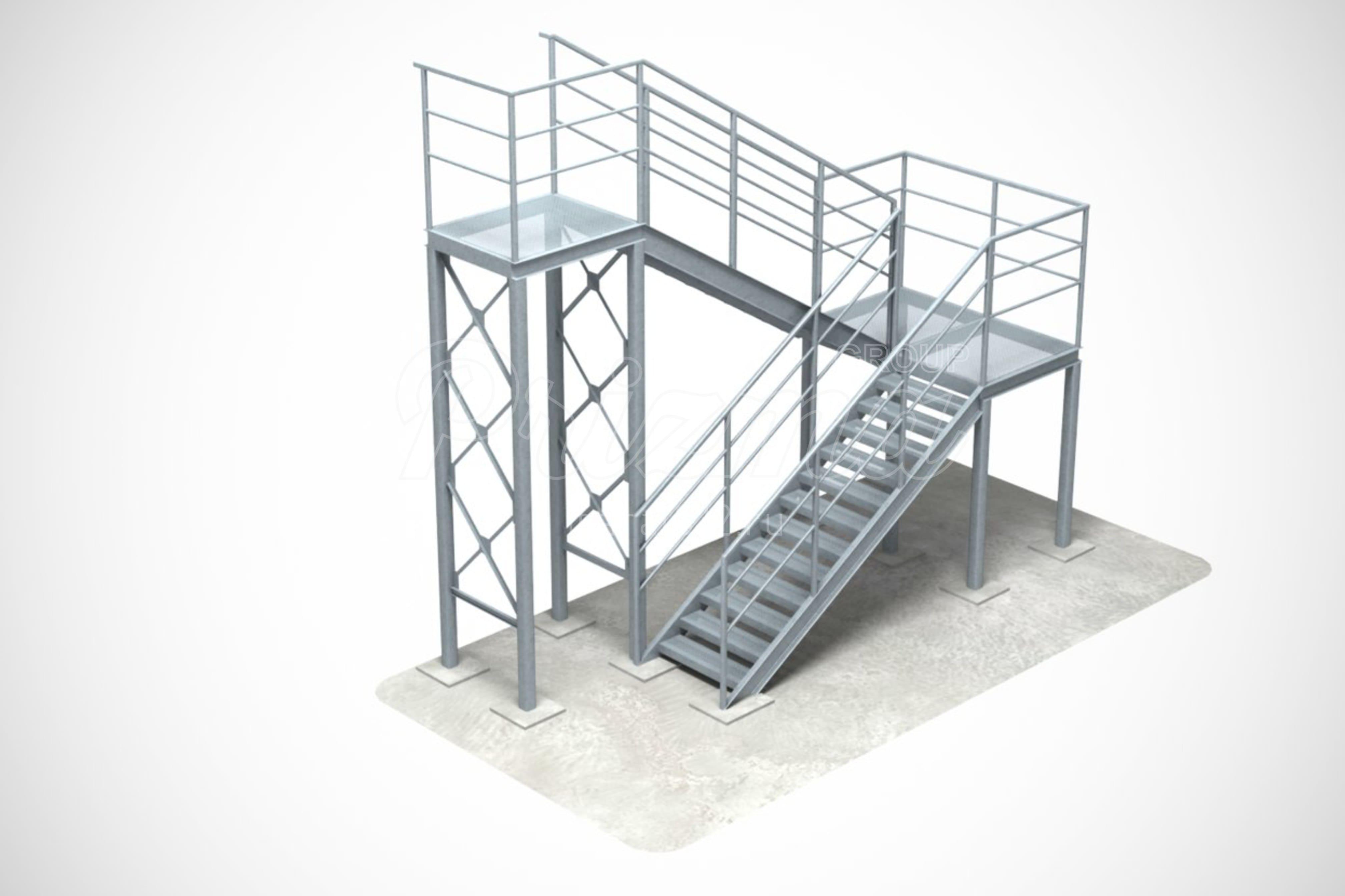 Наружная лестница П2 монтаж