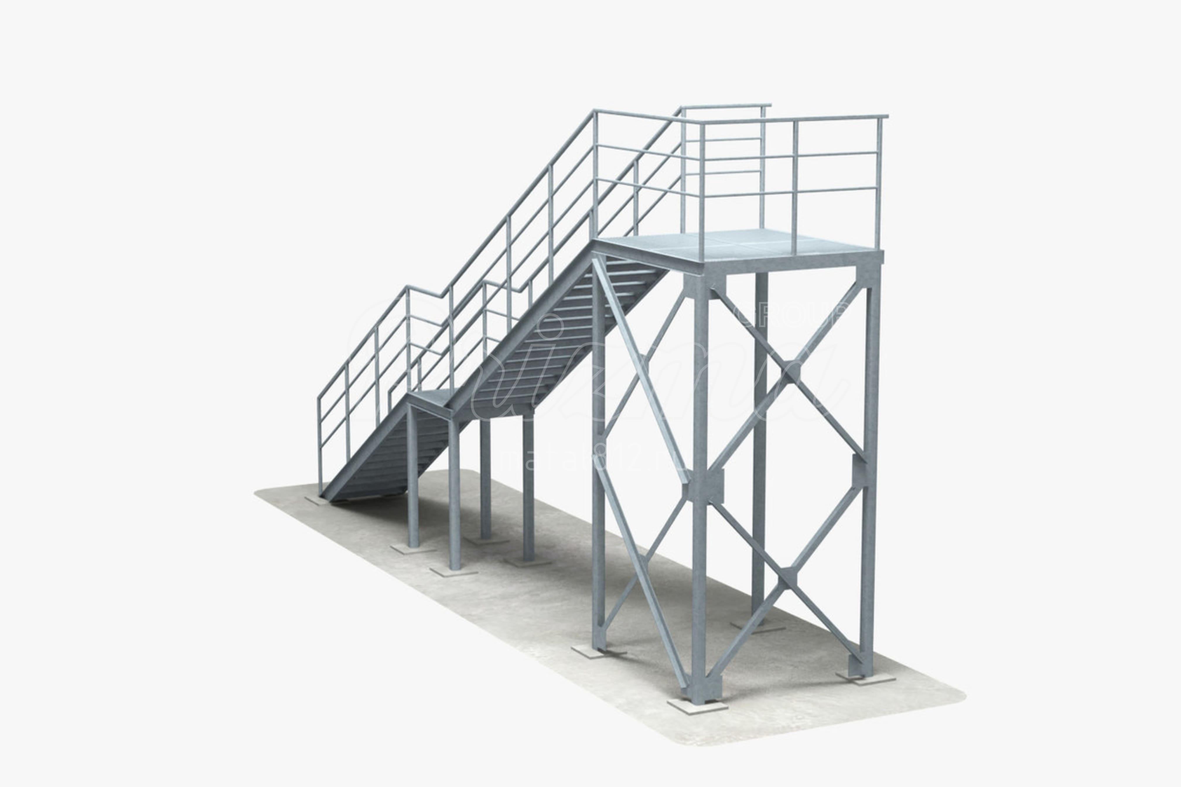 Наружная лестница П2 изготовление