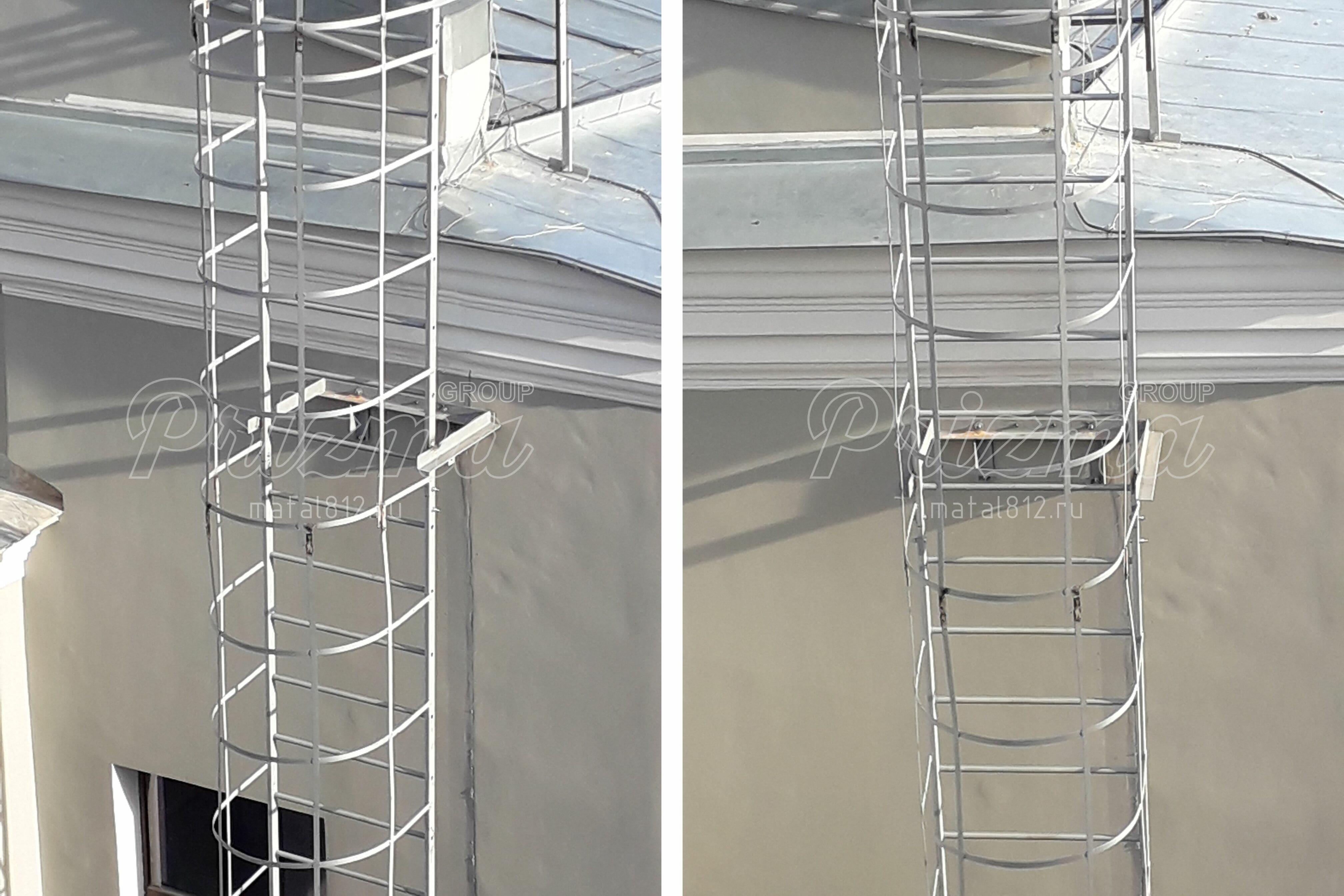 Ограждение пожарных лестниц оцинкованное