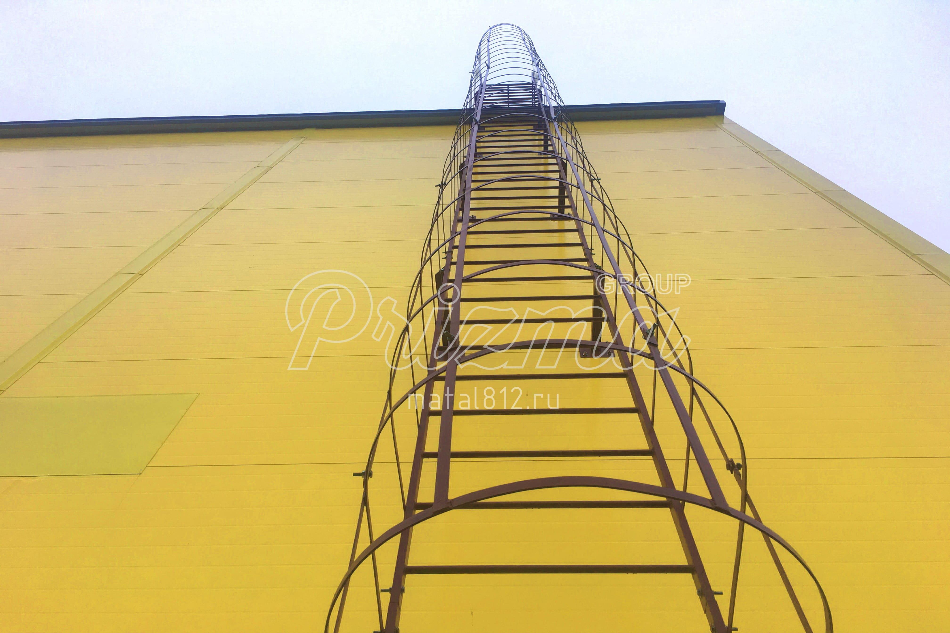 Ограждение вертикальных лестниц окраска по RAL